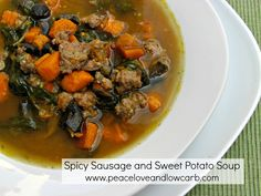SPICY SAUSAGE, SWEET POTATO SOUPThe pictures simply cannot do this soup justice. I know it looks rather...