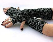 Elegant Black and White , Long Fingerless Gloves - Arm Warmers , Gloves , Hand Warmers , Cuffs , Victoriian , Goth , Cotton