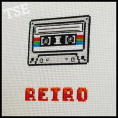 $2.00 Retro Cassette Cross Stitch Pattern (Printable PDF) - Immediate Download from Etsy - Vintage / Music Tape