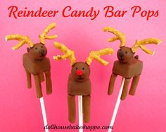Snickers Candy Bar Reindeer Pops