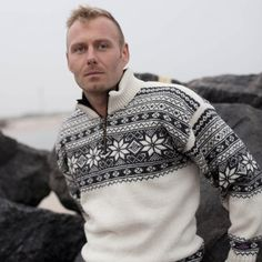 Norsk sweater i Setesdal design & ren ny Uld. The 100, Folk, Men Sweater, Unisex, Knitting, Sweaters, Design, Fashion, Moda