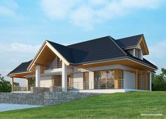 House with attic in modern style with usable area House with a large garage. Minimum size of a plot needed for building a house is m. Home Building Design, My Home Design, Modern House Design, Building A House, House Built Into Hill, House In The Woods, House Plans Mansion, My House Plans, Modern Bungalow House