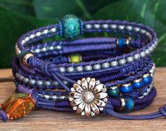 Purple Macrame Wrap Bracelet, Mood Bead Bracelet, Herringbone Weave Bracelet, Lavender Purple Beaded Leather Wrap, Artisan Macrame Bracelet