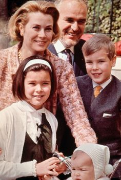 Princess Grace with her husband Prince Rainier III of Monaco and their children Albert, Caroline and Stephanie, 1966.