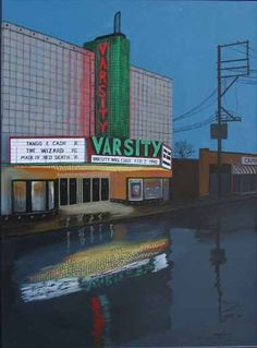 """This painting is by local artist Tom Gross. The caption says, """"The Varsity was located on Main Street by Bradley University. It was razed to make way for the Campustown shopping center."""""""