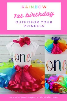 Bright Rainbow One Birthday Party Tutu Outfit - Birthday Gift for Baby Girl - Cake Smash Tutu Set - Birthday or Any Age Rainbow First Birthday, Baby Girl 1st Birthday, Birthday Gifts For Girls, First Birthday Parties, Birthday Celebration, First Birthdays, Summer Party Themes, Party Ideas, Gift Ideas