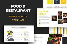 Food & Restaurant Free Keynote Template Free Powerpoint Presentations, Powerpoint Presentation Templates, Free Keynote Template, Photo Report, Free Food, Save Yourself, Infographic, Restaurant, Google