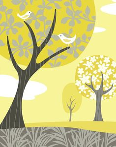 Gray and Yellow Landscape Art Print by pictorialboom on Etsy