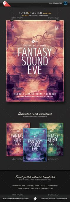 Fantasy Sound Eve  Event Flyer / Poster Template A3  — PSD Template #concert #fantasy • Download ➝ https://graphicriver.net/item/fantasy-sound-eve-event-flyer-poster-template-a3/18333421?ref=pxcr