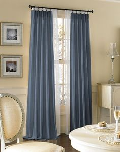 Dupioni Silk Pinch Pleat Luxury Curtain Panel -  I don't want the blue..... I want the gorgeous gray it comes in!
