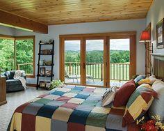 Hillside Timber Cottage - Timber Frame Home Master Bedroom Timber Frame Homes, Timber House, Timber Frames, Small House Design, Home Room Design, Master Bedroom, Bedroom Decor, Wall Decor, Home And Deco