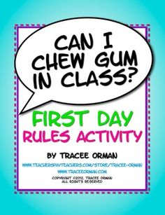 """""""Can I Chew Gum in Class?"""" First Day Class Rules Activity that makes going over the rules & procedures so much more fun. (student-centered learning - priced)"""