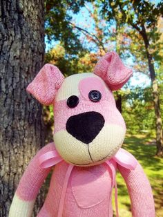 Love the Ears Sock Monkey Doll Puppy Dog in Pink by SockMonkeyBizz on Etsy Monkey Doll, Sock Puppets, Strawberry Patch, Sock Crafts, Sock Dolls, Towel Crafts, Sock Monkeys, Sock Animals, Sewing Toys