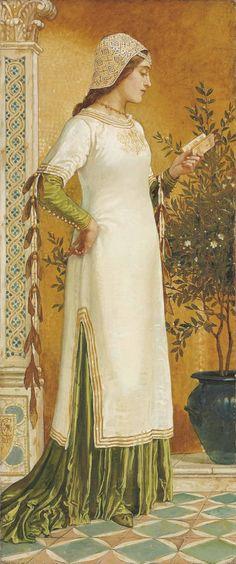 Laura reading (1885). Walter Crane