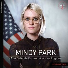 I think they are Oliver Peoples. Mackenzie Davis stars as NASA Satellite Communications Engineer Mindy Park in The Martian movie. Matt Damon, Movie Photo, I Movie, Mark Watney, Science Fiction, Shes Beauty Shes Grace, Mackenzie Davis, Ensemble Cast, Donald Glover