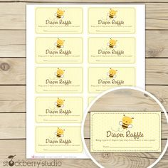 Bumble Bee Baby Shower Diaper Raffle Tickets  - Mom to Bee Baby Shower Raffle Cards  Instant Download - Yellow Baby Shower Invitation Insert by stockberrystudio on Etsy https://www.etsy.com/listing/104726855/bumble-bee-baby-shower-diaper-raffle