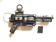 Steampunk Gun Nerf Gun LARP cosplay gun Nerf mod replica weapon: customised long dark silver gun with 4 bullets, very unique, great gift Nerf Mod, Steampunk Gun, Auction Items, Larp, Royal Mail, Uk Shop, Happy Shopping, Weapons, Guns