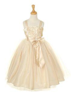 Flower Girl - Beautiful Champagne Satin Rosette Bodice Flower Girl Dress(Sizes 2-14 in 12 Colors)