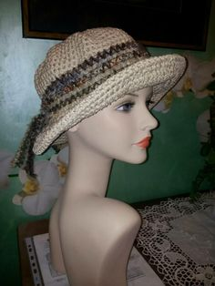 Cappello uncinetto estivo in cotone 100% (ecru)