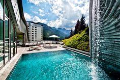 The beautiful pool at the Tschuggen Bergoase at Tschuggen Grand Hotel, Arosa    @Hotel Eden Roc