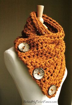 Orange, cozy scarf - so me!! The Original BOSTON HARBOR Scarf  - Warm, soft & stylish scarf with 3 large coconut buttons - Butterscotch on Etsy, $74.00
