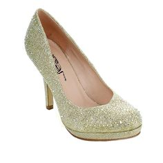 Make virtually any outfit glamorous by accessorizing with these eye-catching round-toed pumps, featuring faux-leather uppers covered in glitter. The glittery platform-and-stiletto heel gives you a four-inch lift.