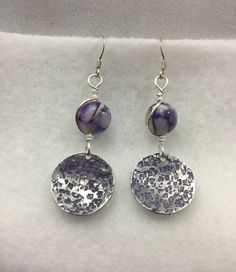 Purple Mother of Pearl Wire Wrapped, Violet Textured/ Hammered earrings. by ThepcmomCrafts on Etsy