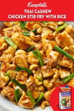 Campbell's Thai cashew chicken stir fry with rice Asian Recipes, New Recipes, Cooking Recipes, Healthy Recipes, Thai Chicken Recipes, Cashew Recipes, Cooking Videos, Cookbook Recipes, Steak Recipes
