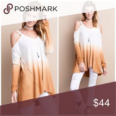 Weekend Promo 1 Hr❗️Ombré Cold Shoulder Tunic Chic and super cozy Thermal cold shoulder Tunic . Nwot . Great with skinny jeans or leggings. Please use buy now or add to bundle feature to purchase directly with ease . Vivacouture Tops