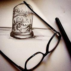 Vagues, essais. www.annehb.ch © Vevey, Illustration, Headphones, Visual Arts, Drawing Drawing, Headpieces, Ear Phones, Illustrations