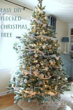 DIY Flocked Tree, Wreaths - Thrifty Holiday Decor! - Easy DIY Flocked Tree - #artsychicksrule #flockedtree