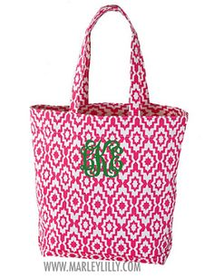 Monogrammed Hot Pink Aztec Tote