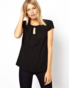 Image 1 of Oasis Top With Dipped Hem And Capped Sleeve