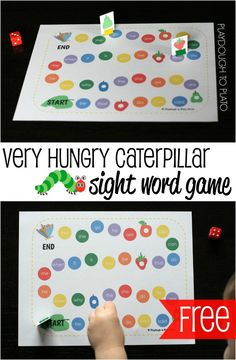 FREE Very Hungry Caterpillar Sight Word Game. Fun, motivating way to practice reading, spelling and writing sight words.Brings together reading the book and learning words, great for visual learners Teaching Sight Words, Sight Word Practice, Sight Word Activities, Literacy Activities, Reading Practice, Guided Reading, Reading Activities, Preschool Board Games, Emergent Literacy