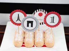{ Red Balloon Party } French Inspired 1st Birthday Lady Fingers topped with personalized picks