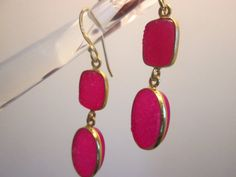 Vintage Victorian Gold/925 Sterling Silver 12.60ctw Pink Druzy Quartz Dangle Earrings 5.1 G, Hallmarked 925