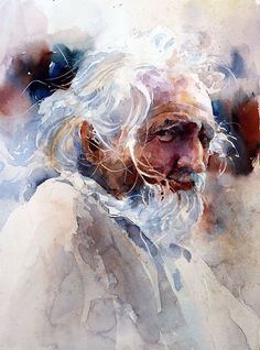 I was teaching a workshop in Devon, England. We were painting at a garden by an old church and this gentleman sat down next to us. I asked if he would mind if I took his photo.He was very obliging. This painting was done from the photo.