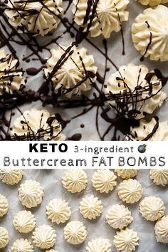 These ingredient!) buttercream keto fat bombs are ridiculously easy and shockingly delicious! Expect pure melt-in-your-mouth goodness, at just net carbs a pop! Keto Cookies, Cookies Et Biscuits, Breakfast And Brunch, Ketogenic Recipes, Keto Recipes, Healthy Recipes, Salad Recipes, Snack Recipes, Dinner Recipes
