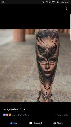Owl woman tattoo