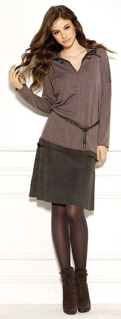 Diktons double layered sweater and tiered short skirt