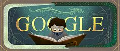 Google Doodle - 9/1/2016, 37th Anniversary of the publishing of The Neverending Story,  written by German author Michael Ende (1929 - 1995), illustrated by Roswitha Quadflieg.  Made into a film in 1984.  Award-winning classic tale of a boy named Bastian, swept into the magical world of Fantastica.  Each chapter begins with a succeeding letter of the alphabet from A to Z.