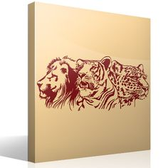 Wall sticker Lion, tiger and leopard. Wall Stickers Cats, Decoration Stickers, Cat Wall, Fauna, Rooster, Cards, Mural Painting, Murals, Paintings