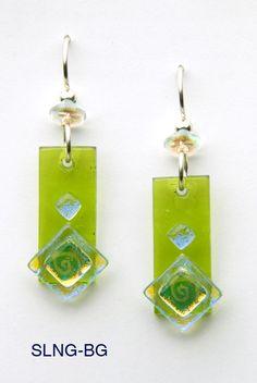 Glass Alamode, Handmade Fused Glass Earrings $34.00 glassalamode.com