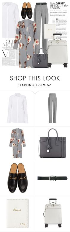 """Grey & White Style"" by alifakanna ❤ liked on Polyvore featuring A.L.C., Victoria Beckham, Yves Saint Laurent, Gucci, M&Co, GiGi New York, Serapian and airportstyle"