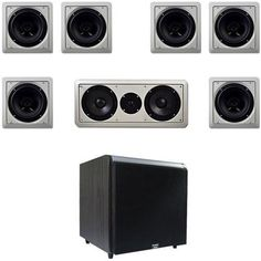 """12"""" Black Subwoofer w/LC265i 6.5"""" In-Wall Speaker System & Center Channel by Acoustic. $338.88. This Acoustic Audio 7.1 channel multi-speaker system features six, 6.5"""" in-wall/ceiling speakers, a dual 6.5"""" center channel and one maple 12"""" powered home audio subwoofer. These LC265i 250 watt (150W RMS) in-wall speakers mount flush in a wall or ceiling for nearly invisible installation and have paintable white grills that can be modified to match any individual decor. They cont..."""