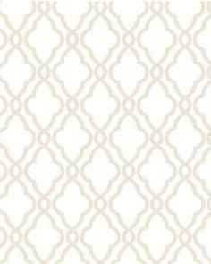 Waverly Classics, White and Grey Hampton Trellis Wallpaper