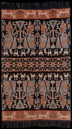 Pusaka Collection of Indonesian Ikat * Textile Sumba, East Sumba, Indonesia, Warp ikat Textile Patterns, Textile Prints, Textile Art, Ikat Painting, Indonesian Art, Batik Art, Textile Texture, Ikat Fabric, Vintage Textiles