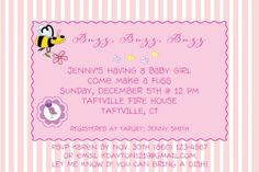 Custom baby shower invitation with pink background, bumble bee and bird.