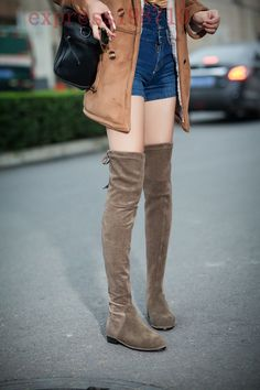 Womens Thigh High Over The Knee Lace-Up Boots Flats Suede Leather Boots Shoes Sz