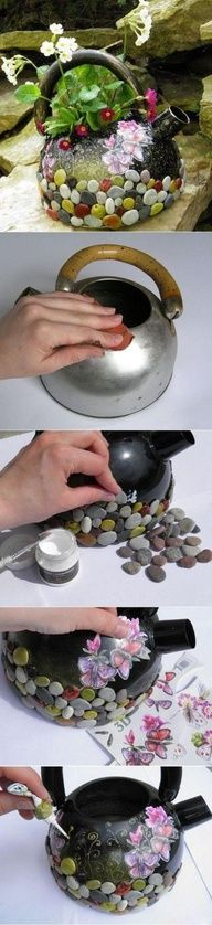 "This can be created with any ""old kitchen throw away"" - don't forget to rust proof your item first if it is made of tin."
